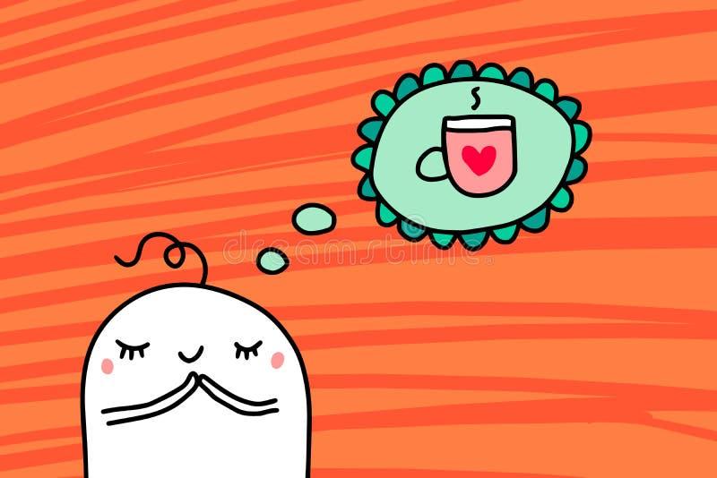 Beeldverhaalmens die over kop van hete koffiehand getrokken vectorillustratie dromen op oranje geweven achtergrond vector illustratie