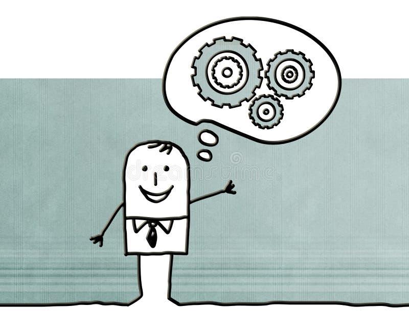 Beeldverhaalmens die over nieuwe concepten denken vector illustratie