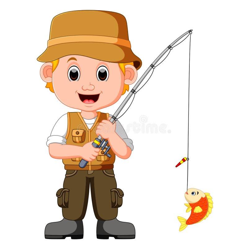Beeldverhaalmens visserij royalty-vrije illustratie
