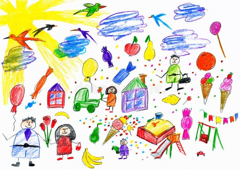 Beeldverhaalmensen en grappige stuk speelgoed inzameling, kinderen die voorwerp trekken op document, hand getrokken kunstbeeld royalty-vrije illustratie