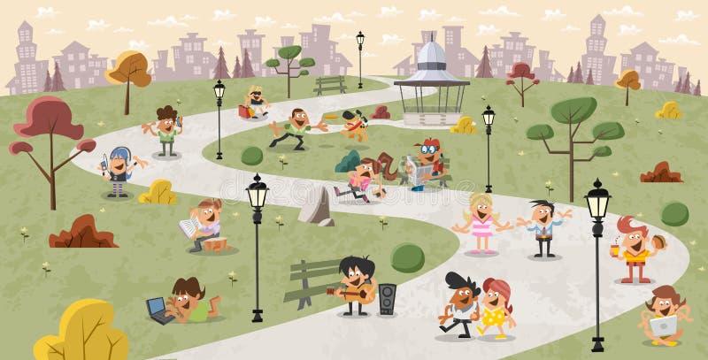 Beeldverhaalmensen in het park royalty-vrije illustratie