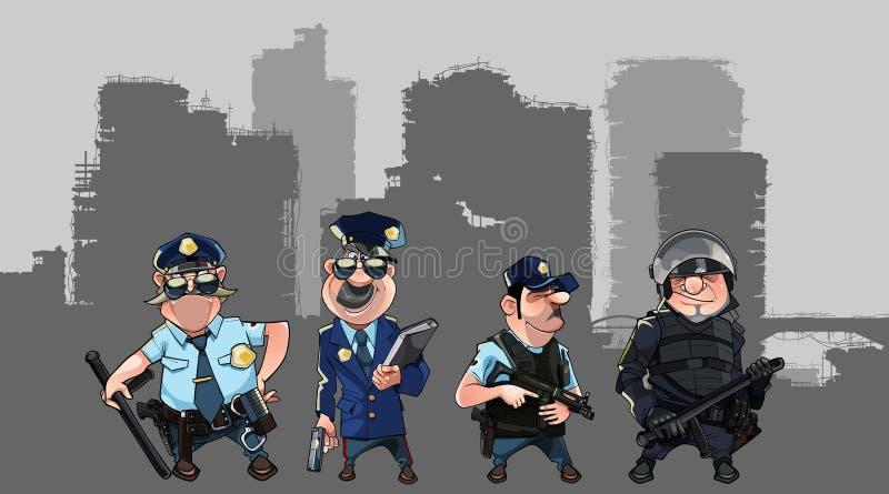 Beeldverhaalmensen in politieuniformen en vorm van speciale krachten met wapens stock illustratie