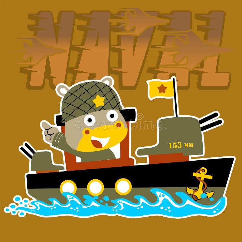 Beeldverhaalmilitair op kanonneerboot vectorbeeld vector illustratie