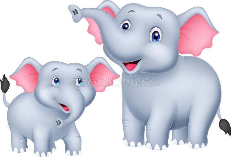 Beeldverhaalmoeder en babyolifant vector illustratie