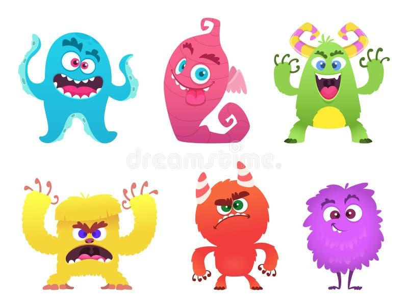 Beeldverhaalmonsters De sleeplijn enge leuke gezichten van de koboldkwelgeest van gekleurde monsters vector grappige karakters vector illustratie
