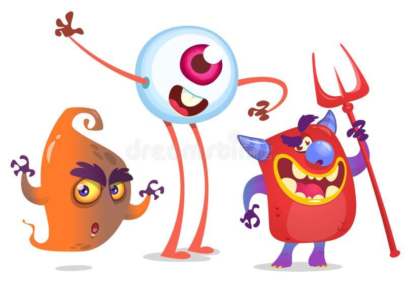 Beeldverhaalmonsters Vectorreeks van spook, duivel en oogmonster stock illustratie