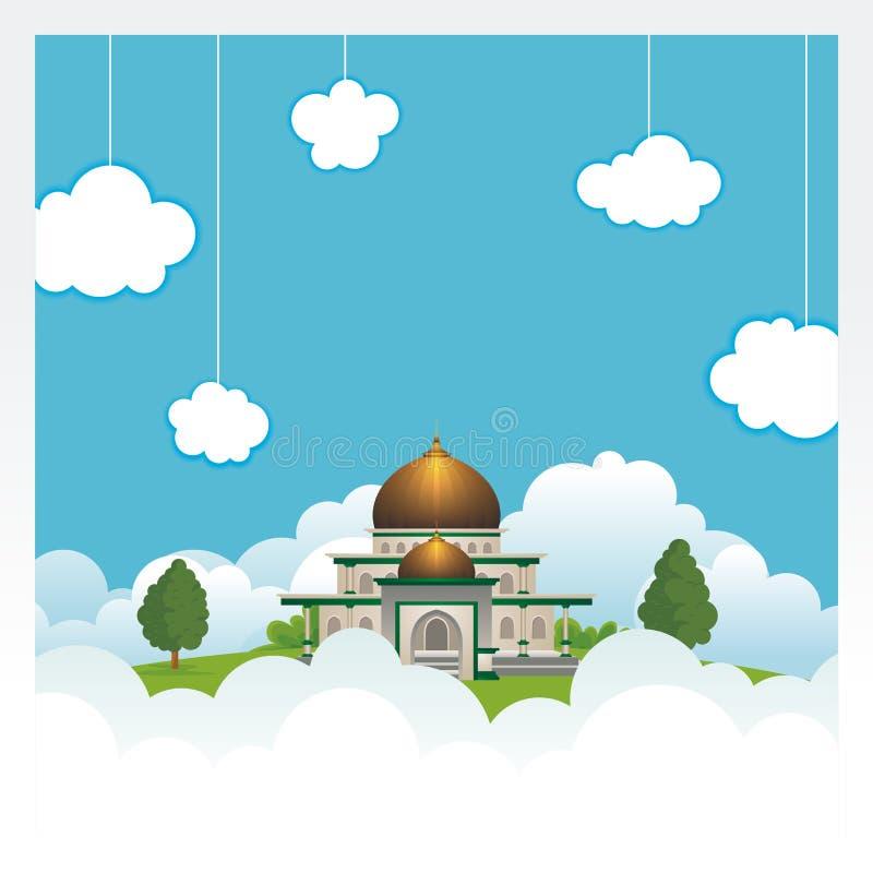 Beeldverhaalmoskee op de hemel en de wolk vector illustratie
