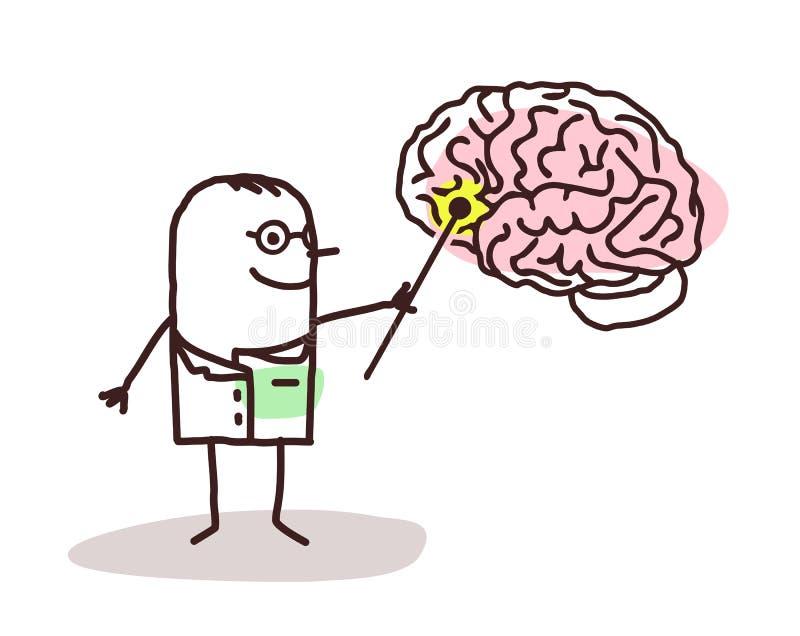 Beeldverhaalneuroloog met hersenen royalty-vrije illustratie