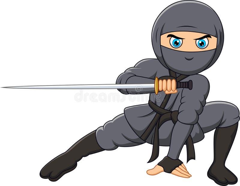 Beeldverhaalninja die een zwaard houden stock illustratie