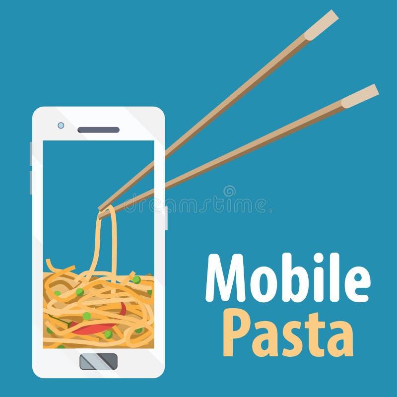 Beeldverhaalnoedels op de mobiele telefoon Chinees en eetstokjes vector illustratie