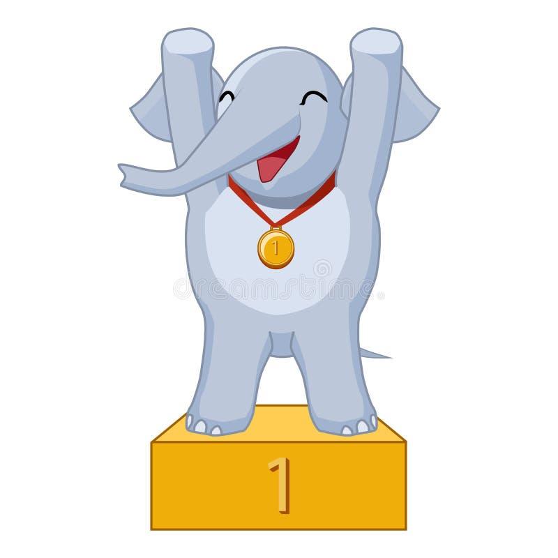 Beeldverhaalolifant de winnaar royalty-vrije illustratie
