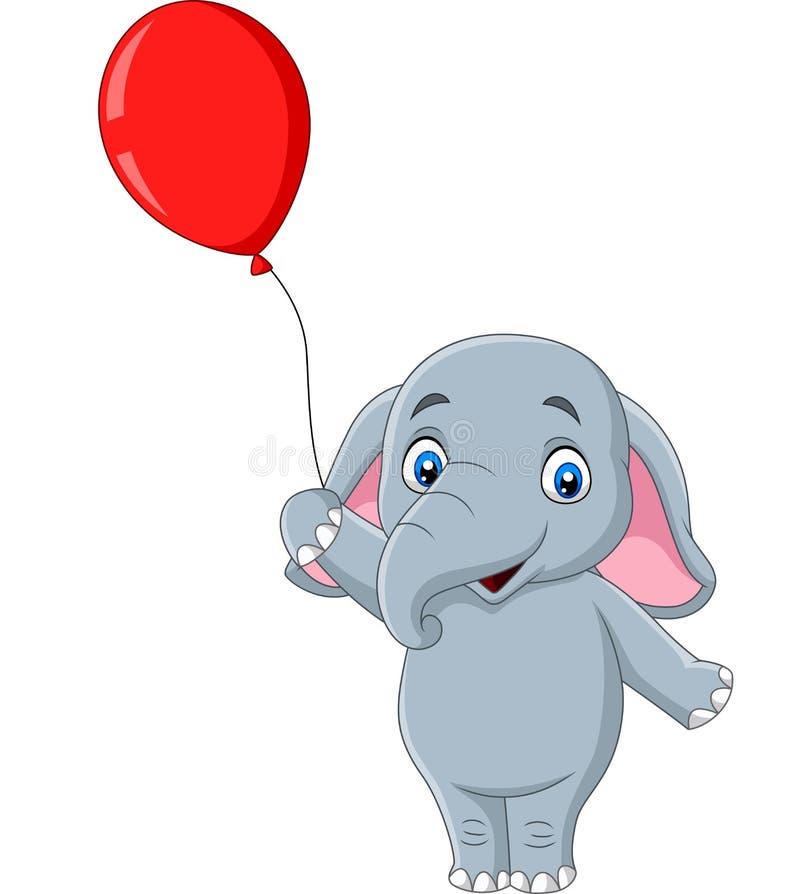 Beeldverhaalolifant die een rode ballon houden royalty-vrije illustratie