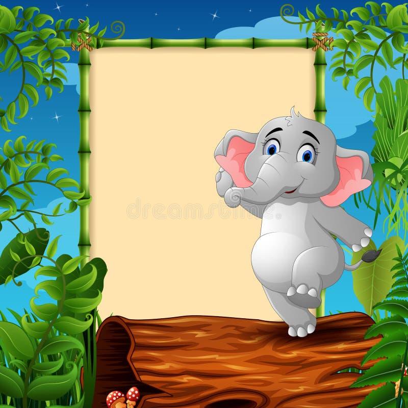 Beeldverhaalolifant die zich op hol logboek dichtbij het lege ontworpen uithangbord bevinden stock illustratie