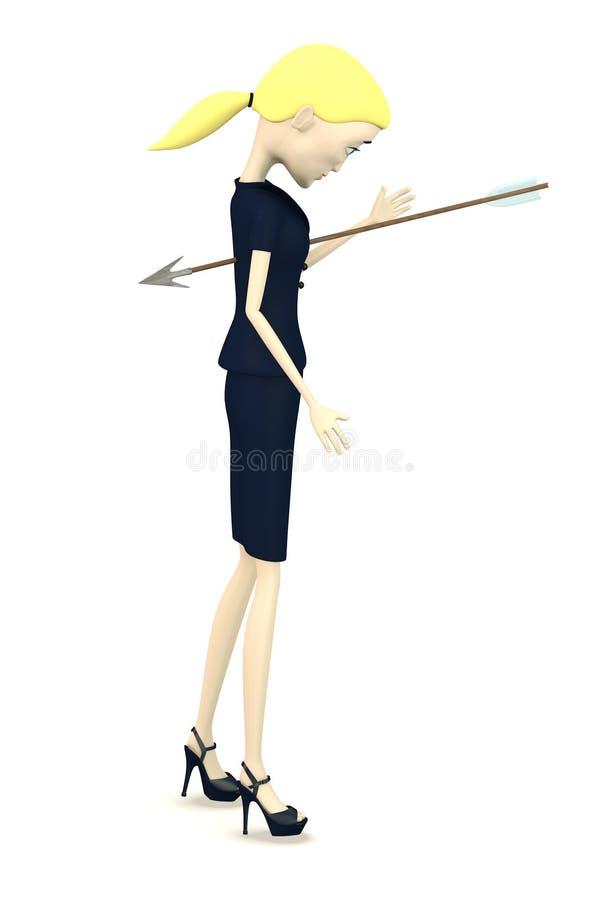 Download Beeldverhaalonderneemster Met Pijl In Borst Stock Illustratie - Illustratie bestaande uit render, menselijk: 29504783