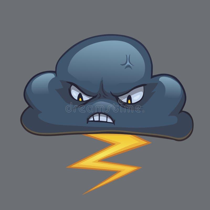 Download Beeldverhaalonweerswolk Met Blikseminslag Vector Illustratie - Illustratie bestaande uit regen, klimaat: 114227779