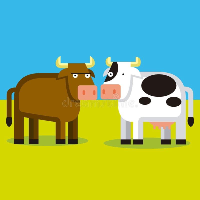 Download Beeldverhaalpaar Van Een Stier En Een Koe Stock Illustratie - Illustratie bestaande uit tekening, stier: 39104560