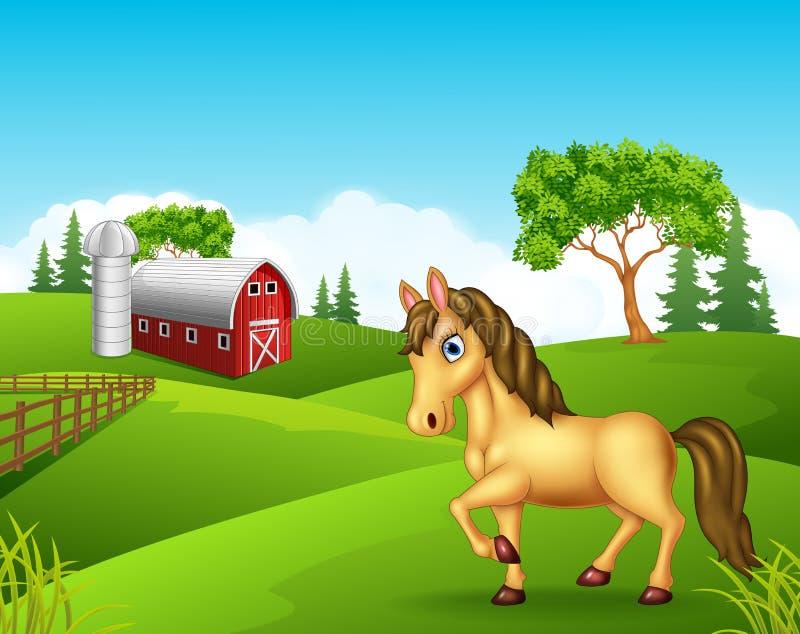 Beeldverhaalpaard in het landbouwbedrijf stock illustratie