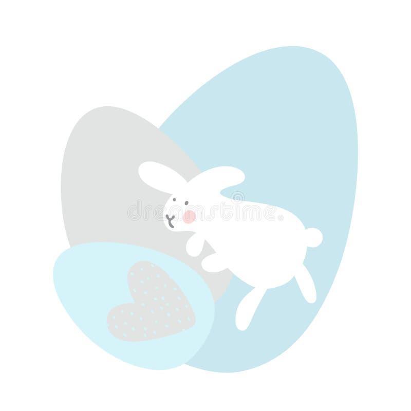 Beeldverhaalpaashaas en Leuk Chick Eggs Pasen of Kinderdagverblijf Vectorillustratie Zachte grijze en blauwe pastelkleuren vector illustratie