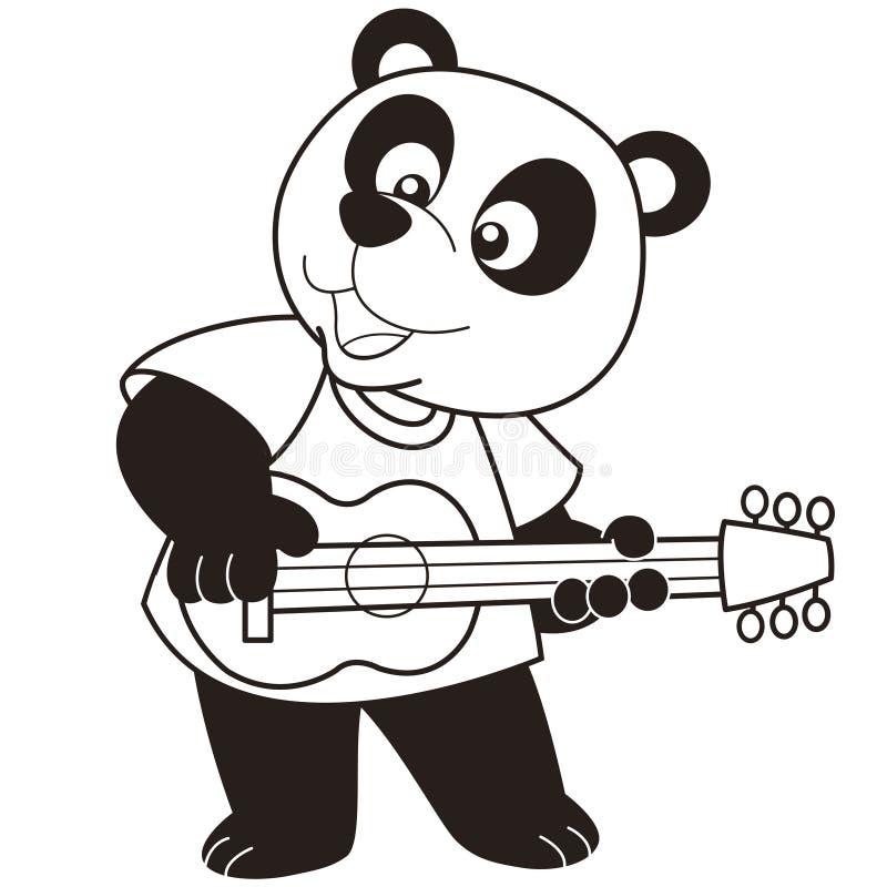 Beeldverhaalpanda die een gitaar spelen royalty-vrije illustratie