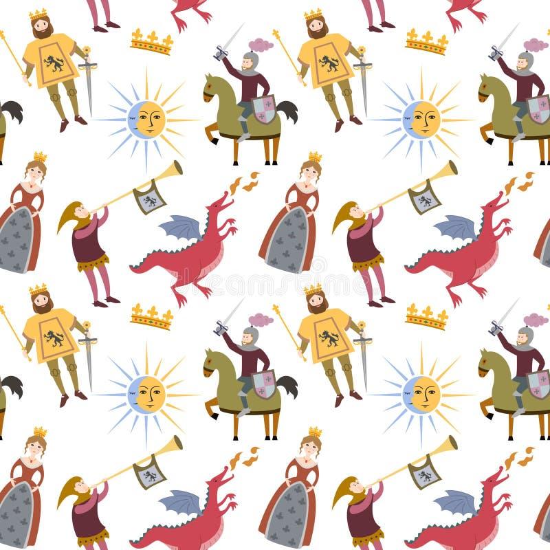 Beeldverhaalpatroon met middeleeuwse karakters op witte achtergrond vector illustratie