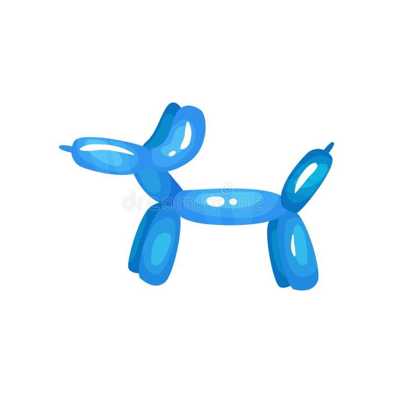 Beeldverhaalpictogram van heldere blauwe ballon bij vormhond Opblaasbaar dier Vlak vectorontwerp voor kindvieringen stock illustratie
