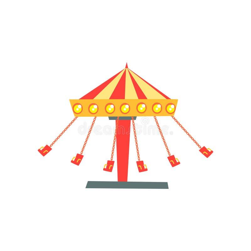 Beeldverhaalpictogram van het slingeren van carrousel met zetels op kettingen in motie Kinderen` s aantrekkelijkheid Pretpark of  vector illustratie