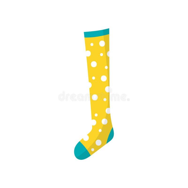 Beeldverhaalpictogram van kleine kinderens katoenen sok in stip Element van jonge geitjes kleding Kledingstuk voor voet Kleurrijk vector illustratie