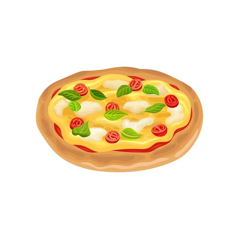 Beeldverhaalpictogram van ronde Italiaanse pizza met tomaten, basilicumbladeren en mozarellakaas Vlak vectorontwerp voor koffie o stock illustratie