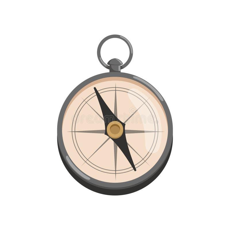 Beeldverhaalpictogram van zilveren kompas met zwarte pijl Retro navigatiehulpmiddel voor het vectorontwerp van archeologenFlat vo stock illustratie