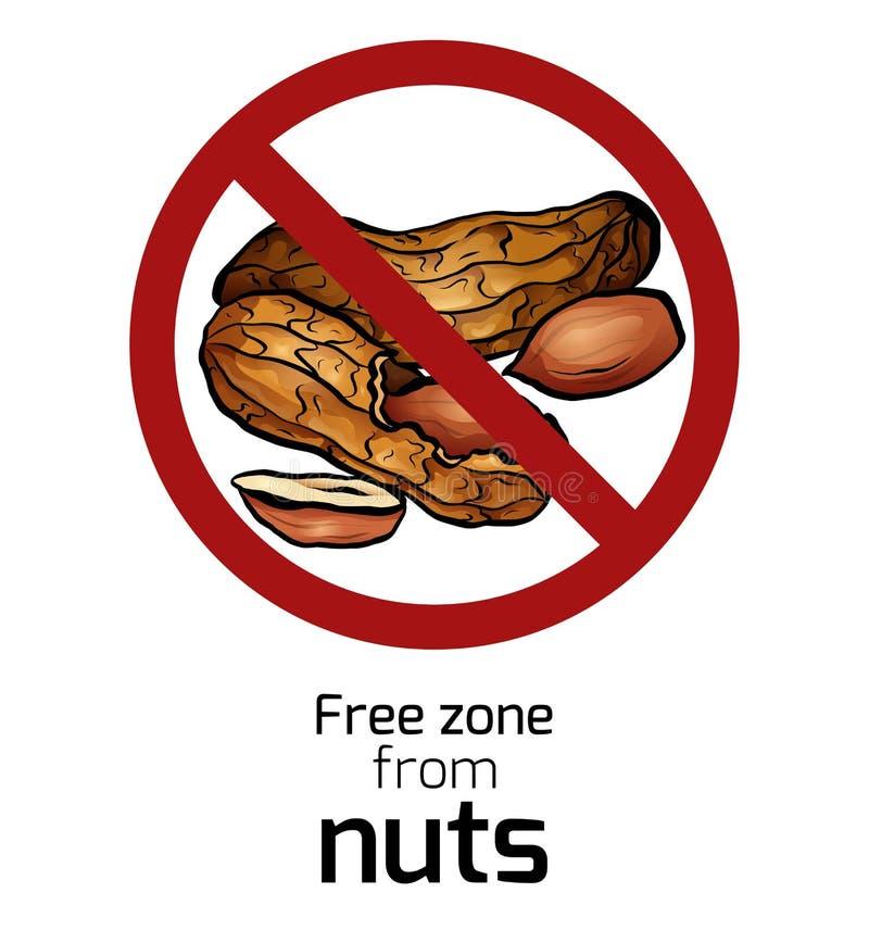 Beeldverhaalpinda in het verbodsteken Vrije zone van noten Verbod op allergenen Allergiealarm Kentekens met forbiddance vector illustratie