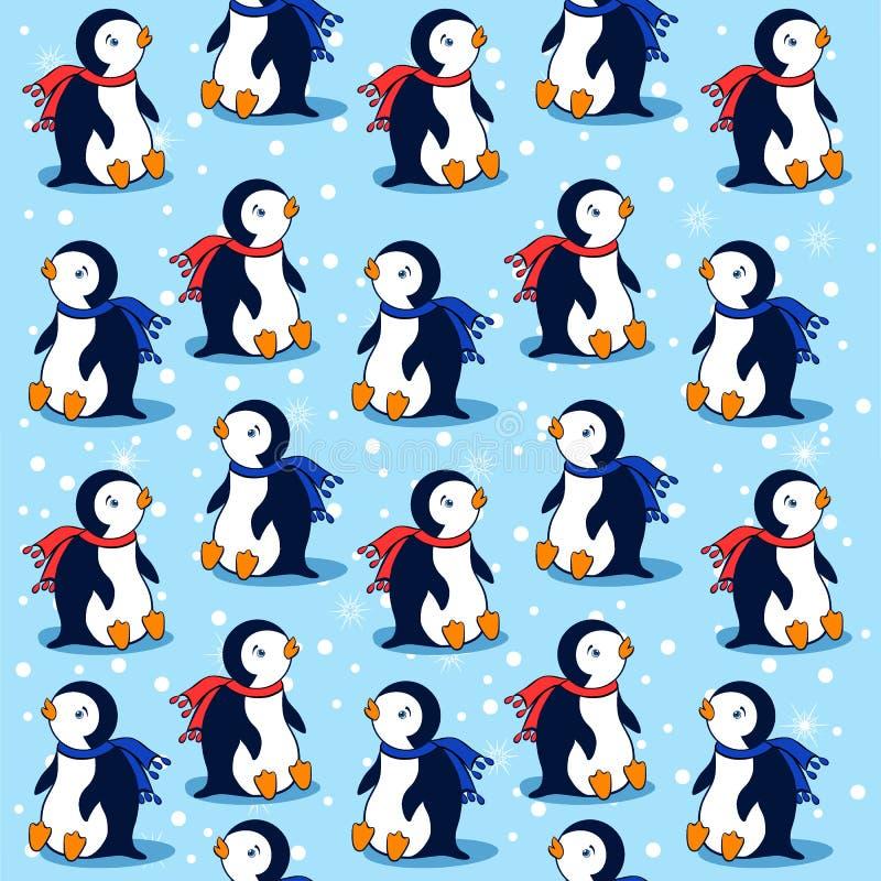 Beeldverhaalpinguïn op blauwe achtergrond met sneeuwvlokken, vector naadloos patroon, decoratieve textuur, vrolijk behang royalty-vrije illustratie