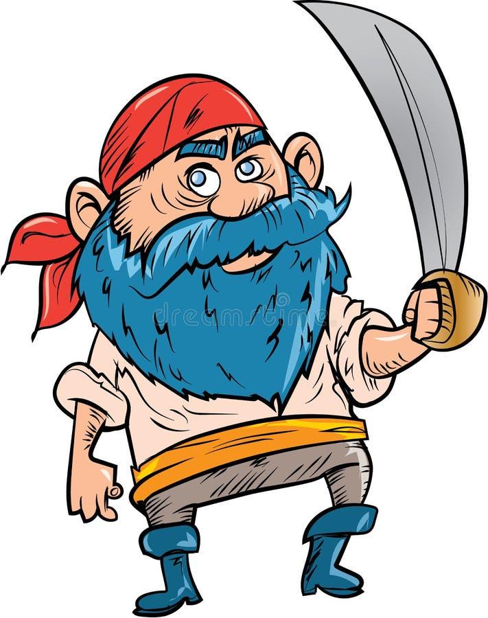 Beeldverhaalpiraat met blauwe baard stock illustratie