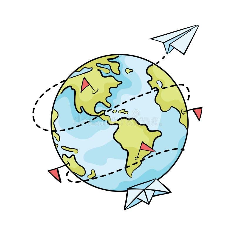 Beeldverhaalplaneet met document schepen en vliegtuigen Illustratie van reis rond de wereld Embleem voor reisbureaus royalty-vrije illustratie