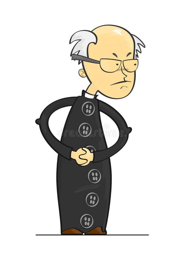 Beeldverhaalpriester stock illustratie