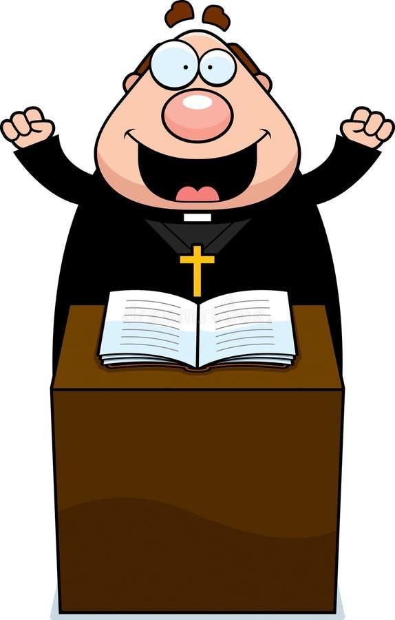 Beeldverhaalpriester Sermon stock illustratie