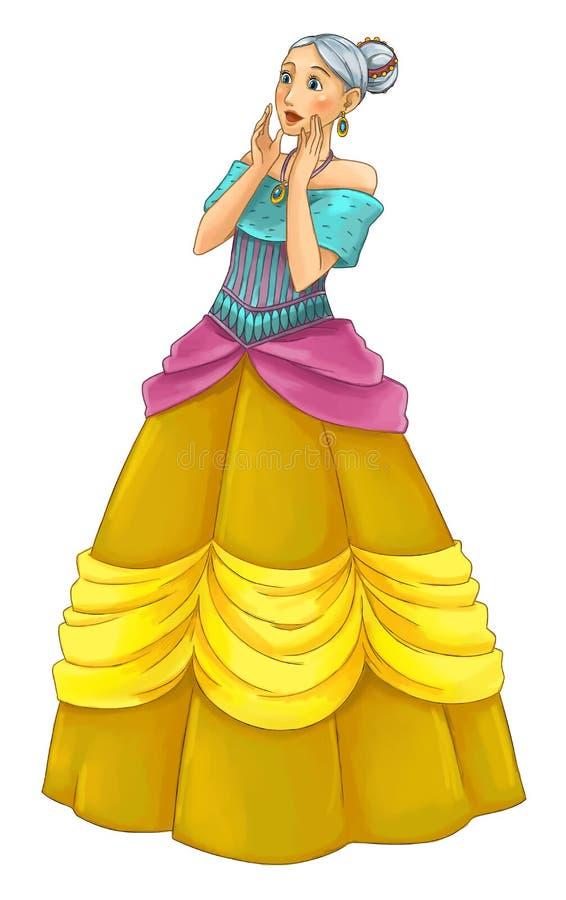Beeldverhaalprinses - glimlachende mooie vrouw vector illustratie