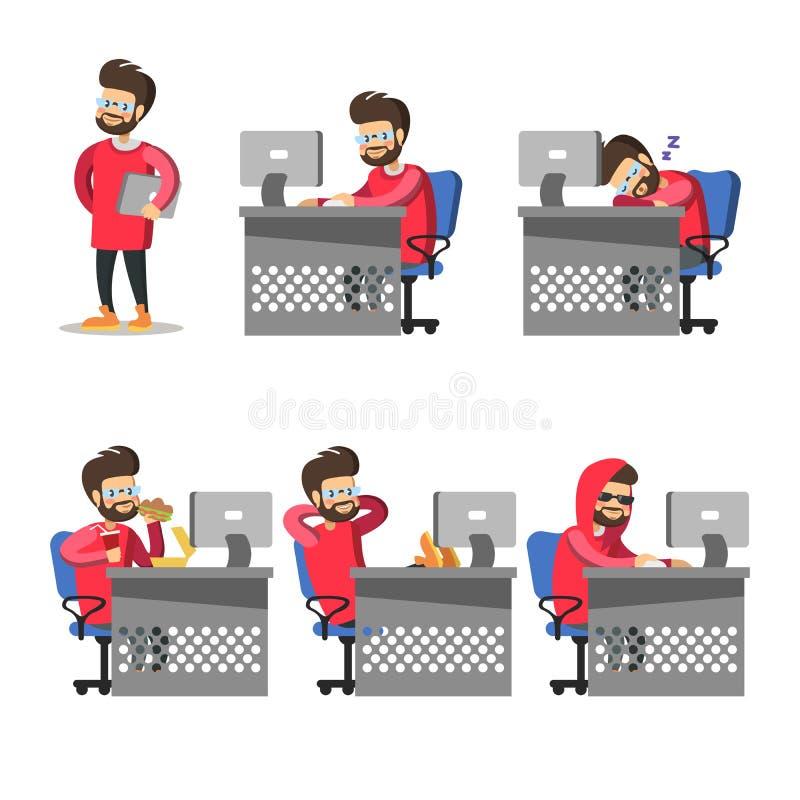 Beeldverhaalprogrammeur met Computer Freelancer op het werk royalty-vrije illustratie