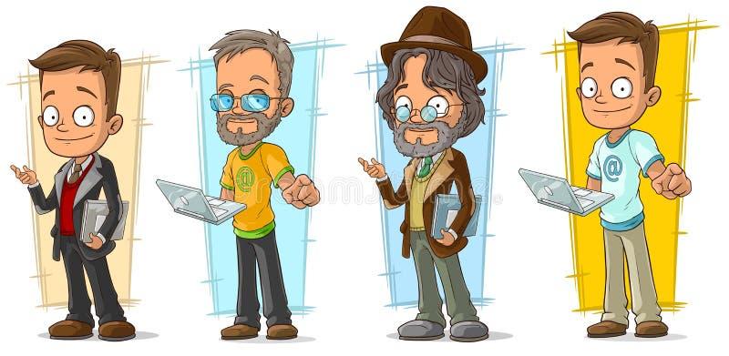 Beeldverhaalprogrammeur met laptop karakter - reeks vector illustratie