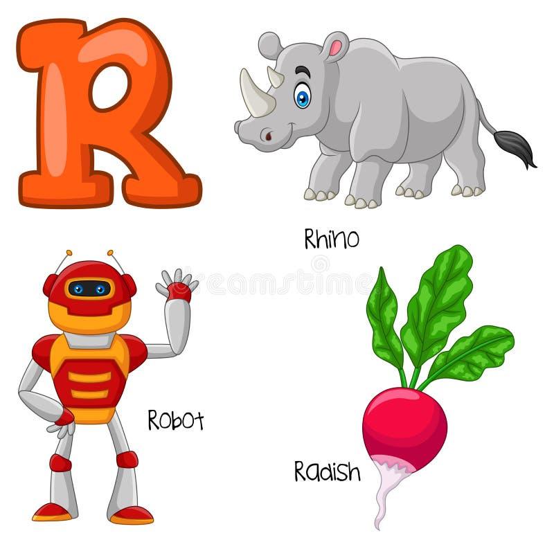 Beeldverhaalr alfabet royalty-vrije illustratie
