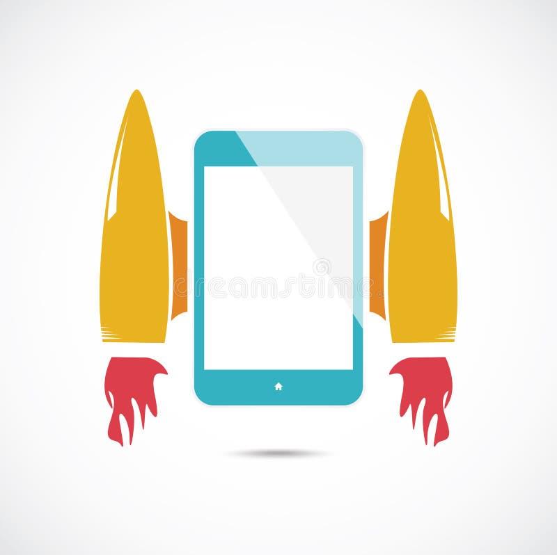 Beeldverhaalraket met mobiele telefoon stock illustratie