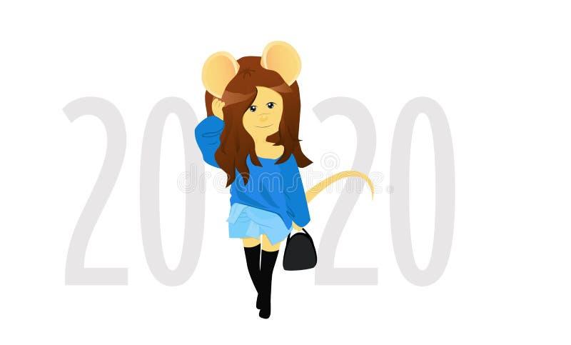 Beeldverhaalrat op de achtergrond van de aantallen 2020 Jaar van de rat Chinese horoscoop Schoonheidsmuis royalty-vrije illustratie