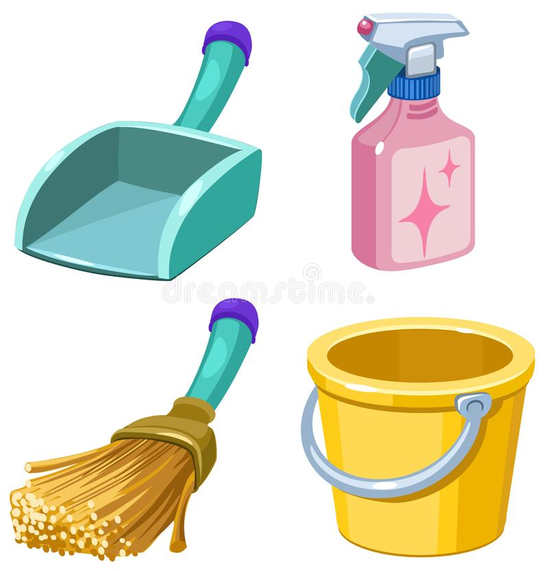 Beeldverhaalreeks van het schoonmaken van pictogrammen vector illustratie