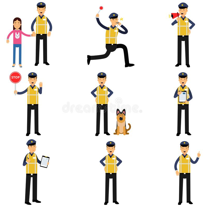 Beeldverhaalreeks van wegpolitieagent in verschillende situaties die zich met de diensthond bevinden, het lopen, die eindeteken t stock illustratie