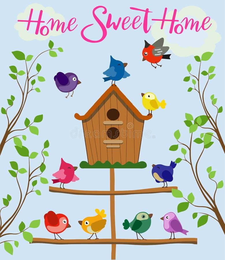 Beeldverhaalreeks verschillende kleurrijke vogels dichtbij vogelhuis die op blauwe achtergrond in vlakke stijl wordt geïsoleerd V royalty-vrije illustratie
