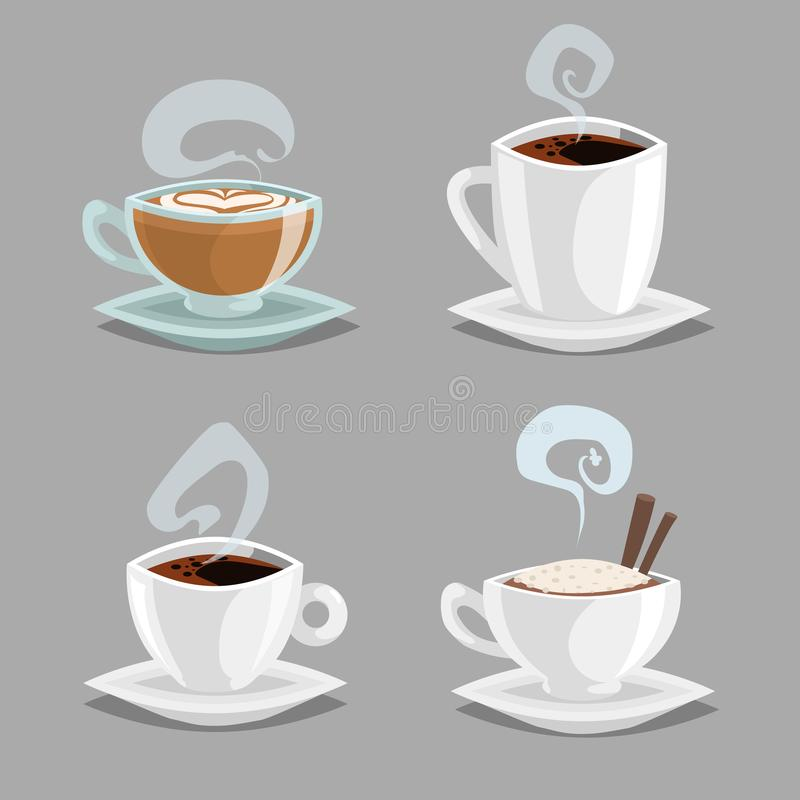 Beeldverhaalreeks verschillende koffiekoppen De witte en schone glaskoppen met cappuccino, zwarte koffie, latte met hart trekken  vector illustratie