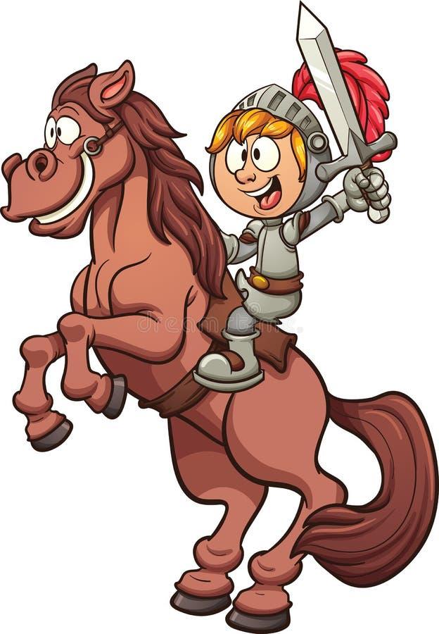 Beeldverhaalridder met paard vector illustratie