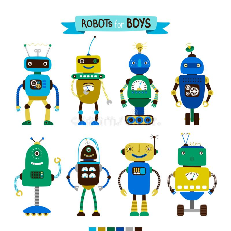 Beeldverhaalrobots voor jongens worden geplaatst die vector illustratie