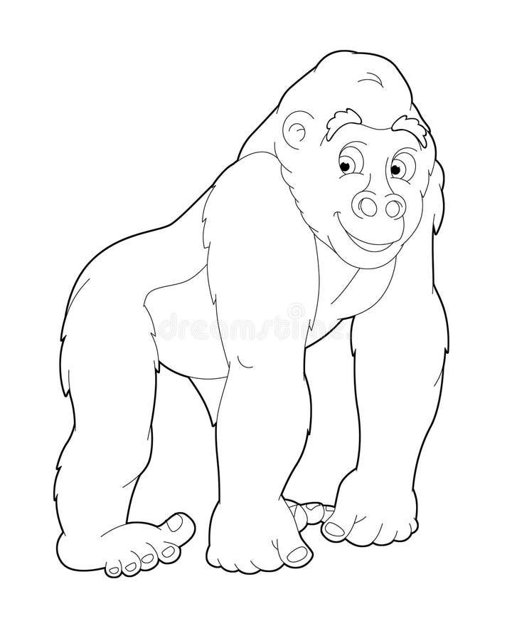 Beeldverhaalsafari - kleurende pagina - illustratie voor de kinderen vector illustratie