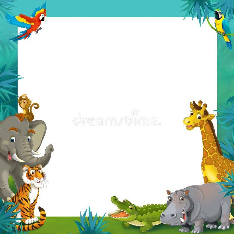Beeldverhaalsafari - wildernis - het malplaatje van de kadergrens - illustratie voor de kinderen stock illustratie