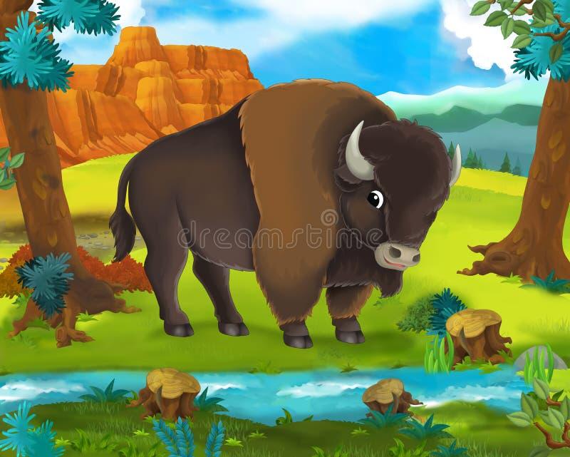 Beeldverhaalscène - de wilde dieren van Afrika - buffels vector illustratie